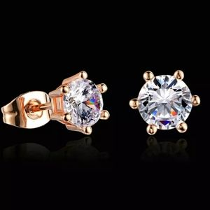 1.2ct Round Prong 18K Rose Gold Stud Earrings